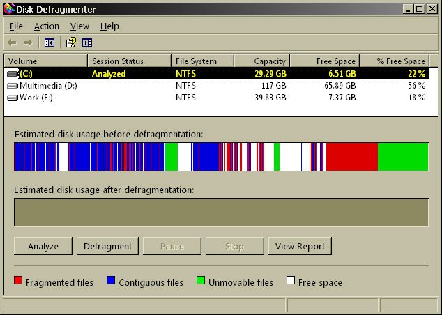 Disk Defragmenter din Windows XP