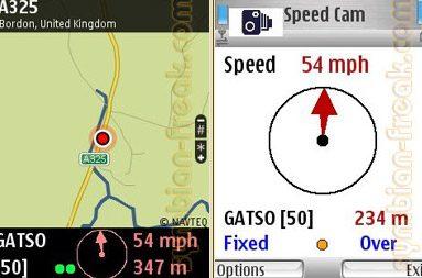 Cam astfel arata aplicatia pe telefon: arata viteza, tipul camerei, distanta si viteza curenta