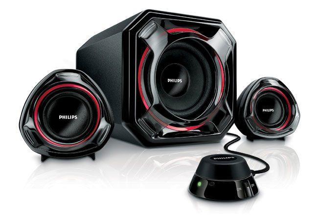 Sistemul audio Philips se adreseaza in special gamerilor, cel putin ca design