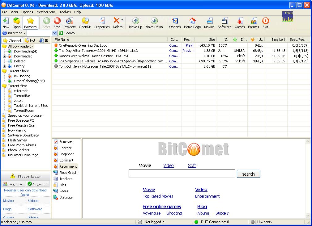 BitComet seamana mult cu μTorrent la interfata