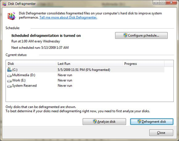 Disk Defragmenter in Windows Vista