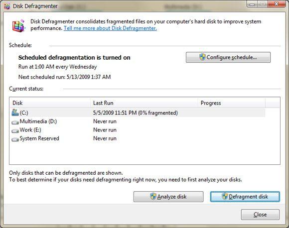 Disk Defragmenter in Windows Vista