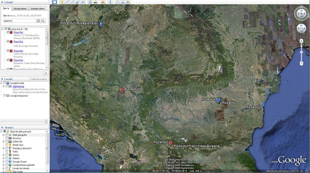 Locatii Pizza Hut pe Google Earth