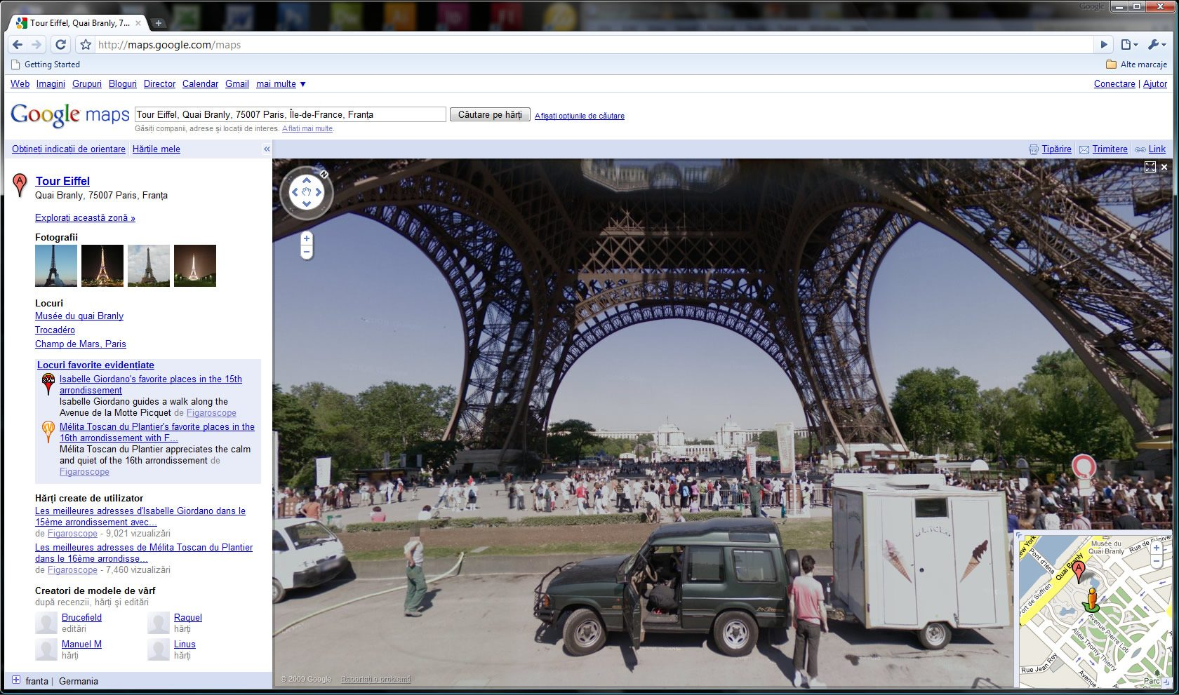 Paris, turnul Eiffel, in Google Street View