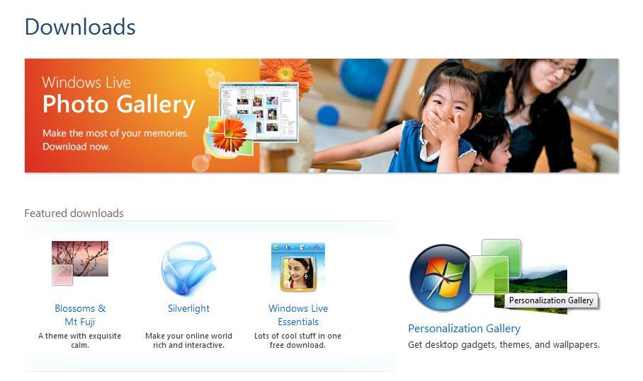 Sectiunea Download pe site-ul Microsoft