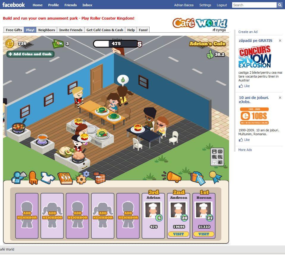 Cafe World, joc multiplayer pe Facebook