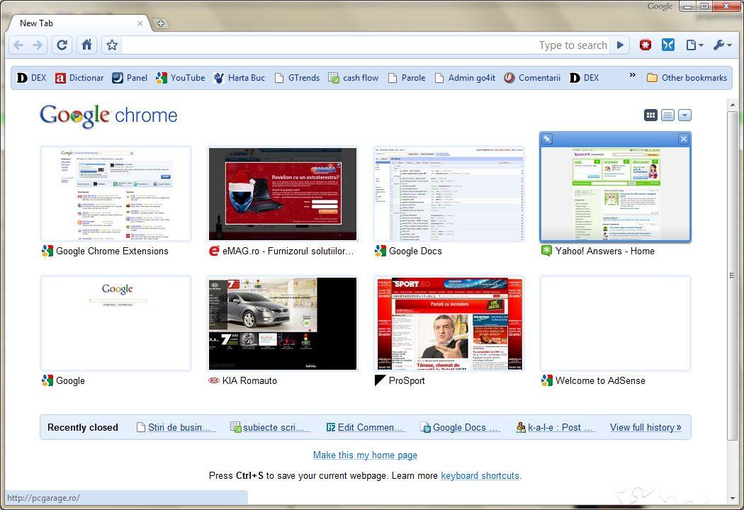Tab nou in Google Chrome