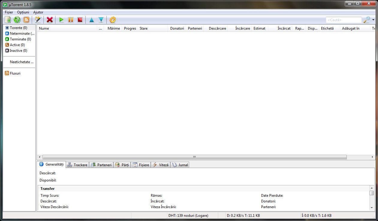 Fereastra principala a uTorrent