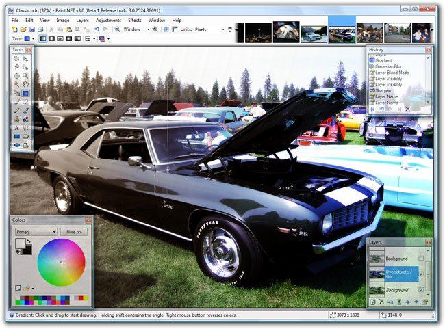 Paint.net ofera numeroase instrumente utile