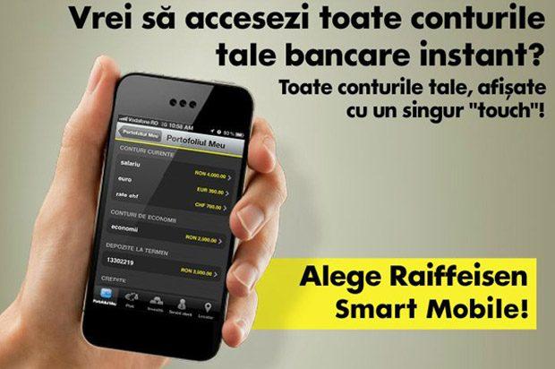 Raiffeisen este una dintre bancile cu o aplicatie buna de mobile banking