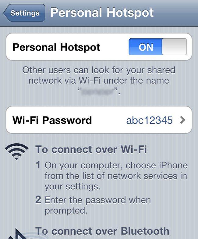 Cu iPhone poti face tethering prin Wi-Fi sau bluetooth