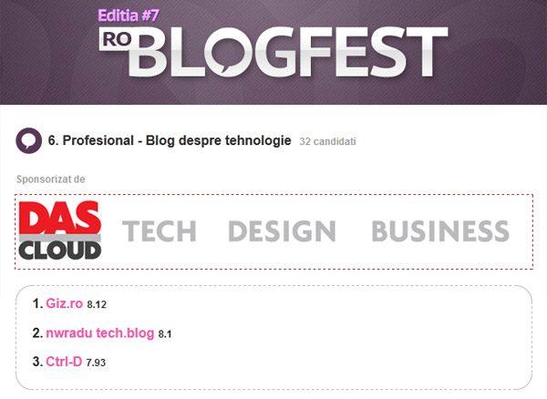 2 premii la RoBlogFest 2012. Multumim!