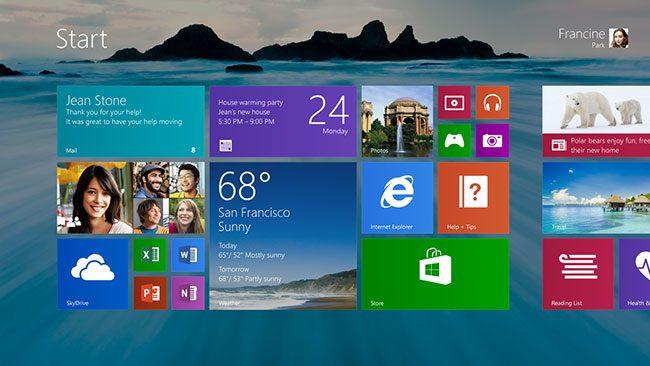 Microsoft Windows 8.1 ecranul de start