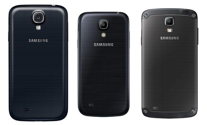 De la stanga la dreapta: Galaxy S4, S4 Mini si S4 Active