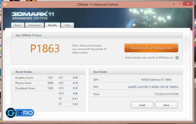 Rezultate obtinute in benchmarkuri pentru Asus S551