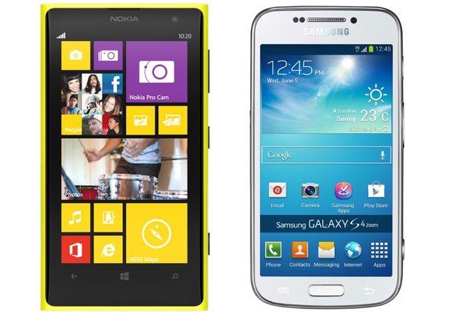 Privite frontal, Nokia Lumia 1020 si Samsung Galaxy S4 Zoom par doua smartphone-uri obisnuite