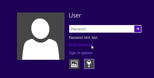 Windows 8 reset password
