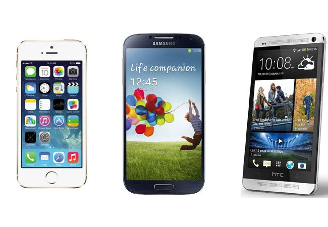 iPhone 5S, Samsung Galaxy S4 si HTC One