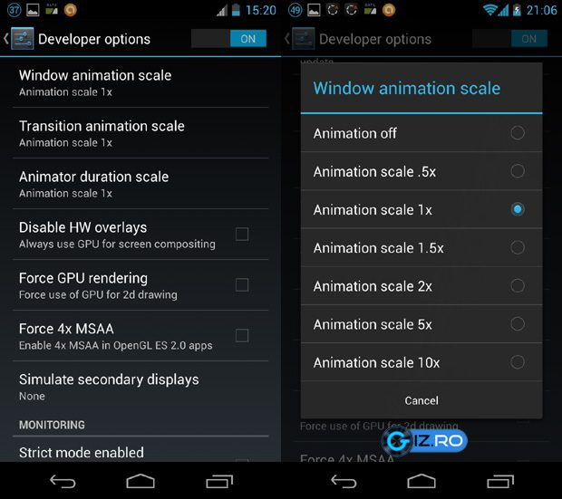 Dezactivarea animatiilor poate creste viteza Androidului