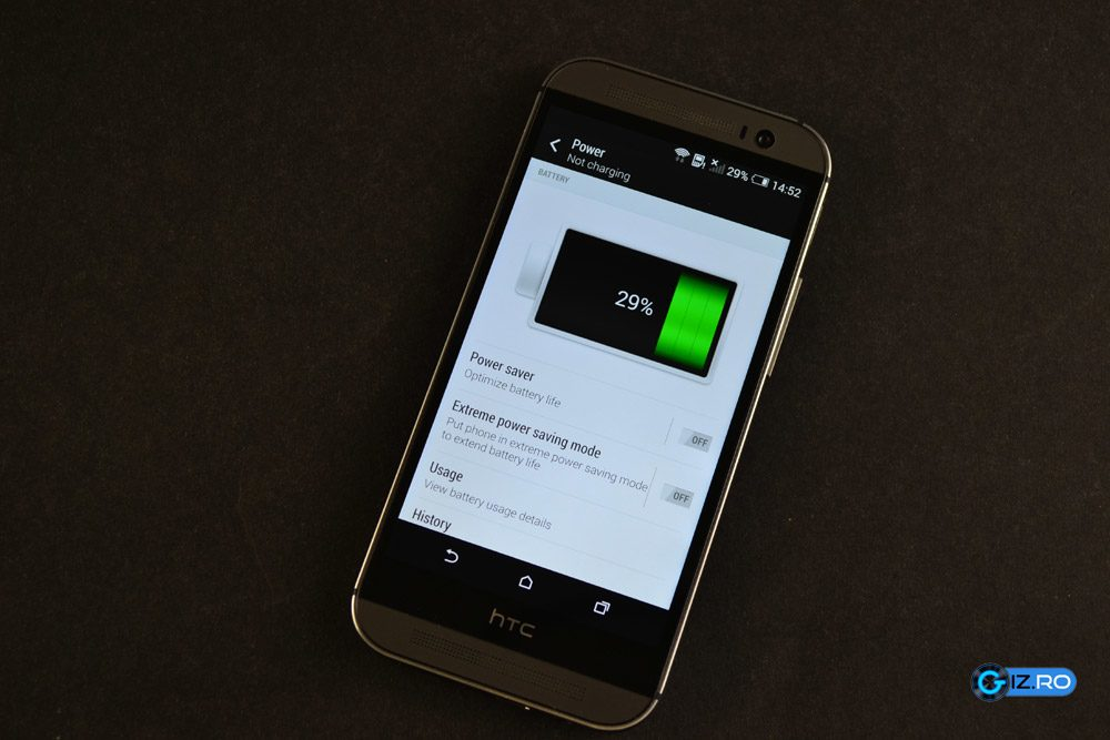 HTC One M8 rezista aproximativ o zi de lucru fara sprijin din partea unei prize