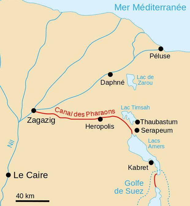 Configuratia Canalului Pharaohs, cunoscut si drept Canalul Antic Suez