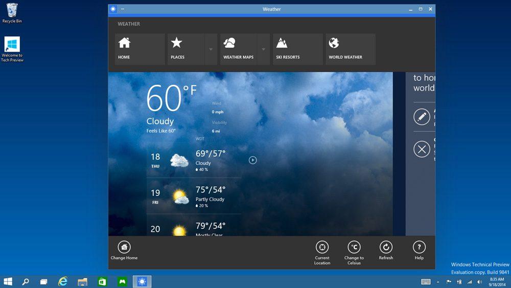 Aplicatiile Metrou UI pot fi redimensionate pe desktop
