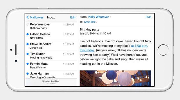 Pe iPhone 6 Plus, ioS 8 poate fi utilizat si in format landscape