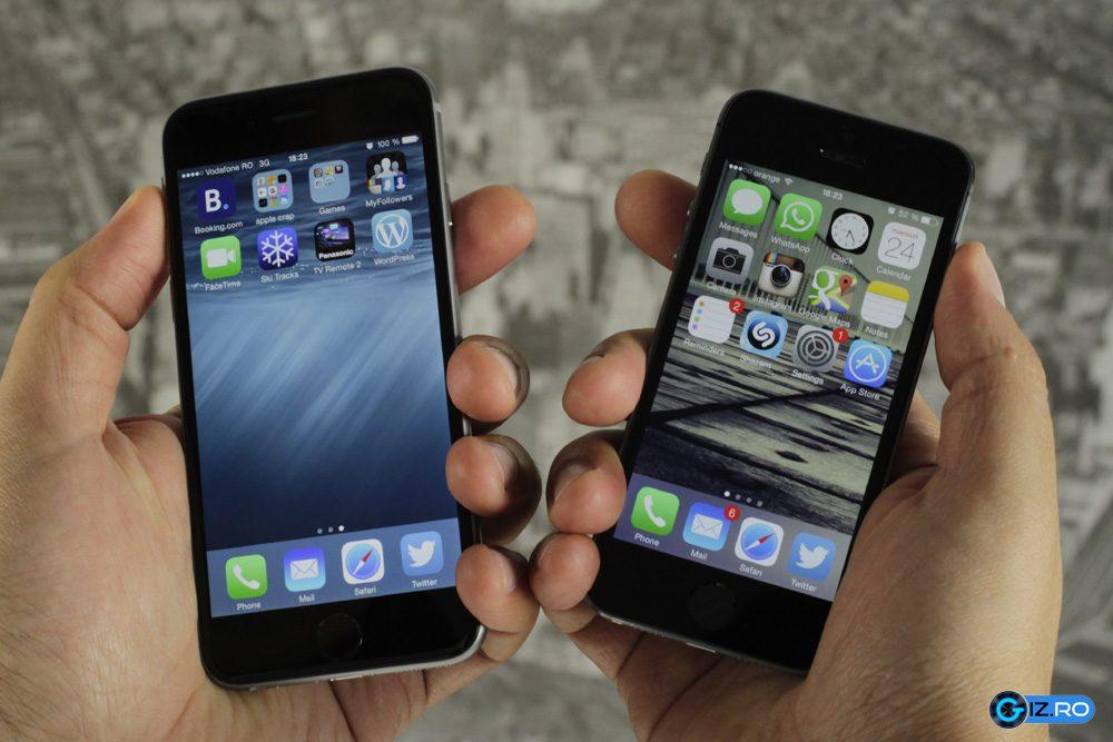 Diferenta de marime dintre iPhone 6 si iPhone 5S