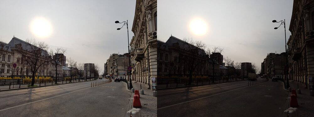 Fotografie cu HDR activat (stanga) si dezactivat (dreapta)
