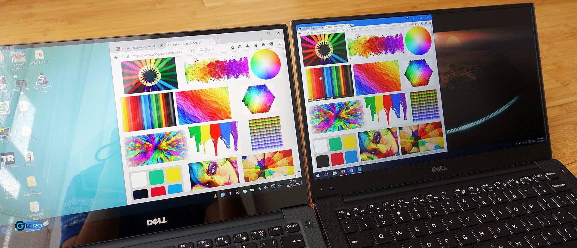 XPS-ul este disponibil în România doar cu ecran lucios (stânga), deși opțiunea mată (dreapta) este la rândul ei foarte bună și mult mai accesibilă