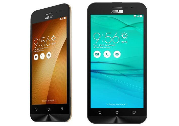 Gama Asus Zenfone Go (ZB452KG stanga, respectiv ZB500KG si ZB500KL in dreapta)